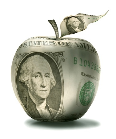 dollar in shape of apple