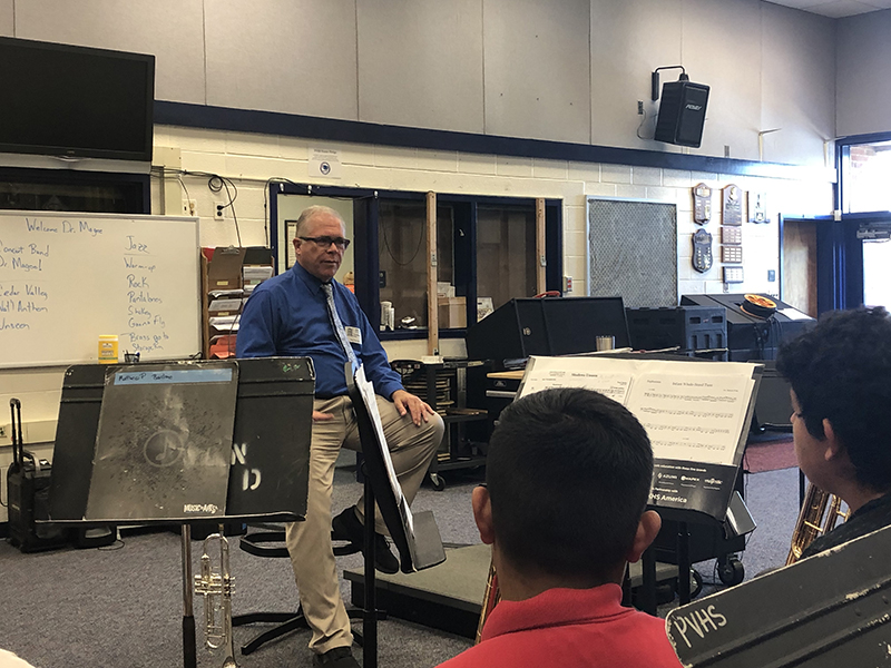 Dr. Chris Magee visits the Park View High School Band
