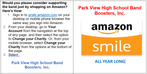Support the Park View Band with Amazon Smile